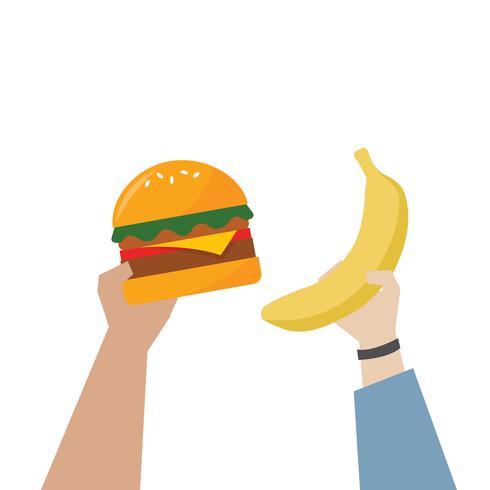 Hände, die gesündere Lebensmittelillustration wählen