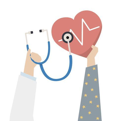 Illustratie van arts die het hart van de patiënt controleert
