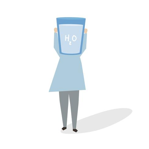 Illustration of a woman with a glass of water