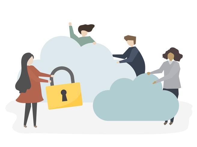 Ilustração de pessoas com segurança de rede
