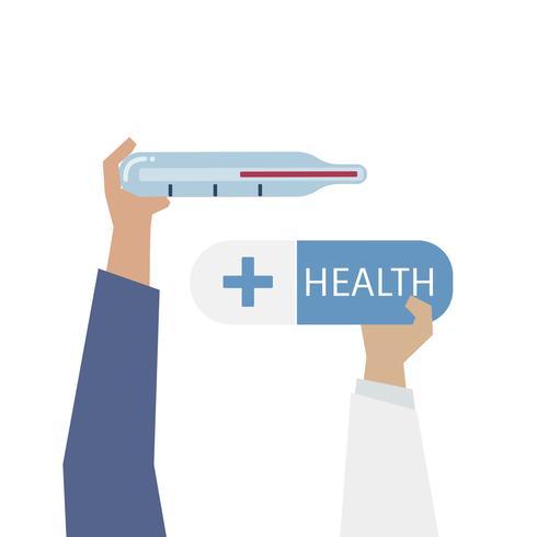 Illustration av termometer och hälsa