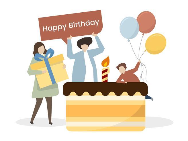 Ilustración de una familia celebrando un cumpleaños.