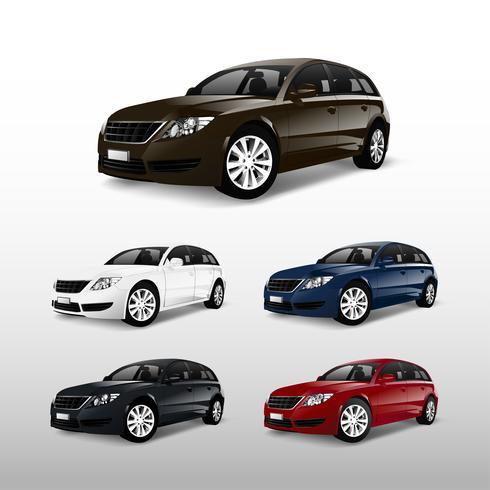 Conjunto de vectores de coche hatchback colorido
