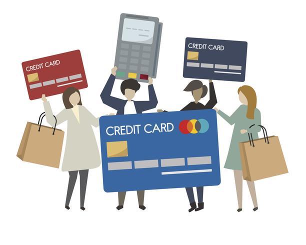 Gens shopping avec illustration de carte de crédit