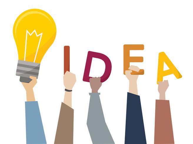 Ilustração, de, criativo, idéias, com, ligh, bulbo