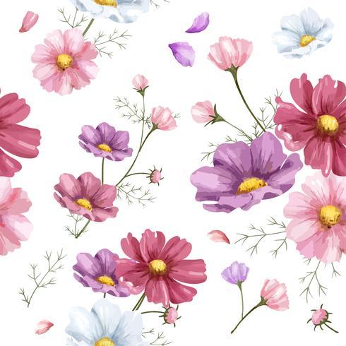 Hand drawn cosmos flower pattern