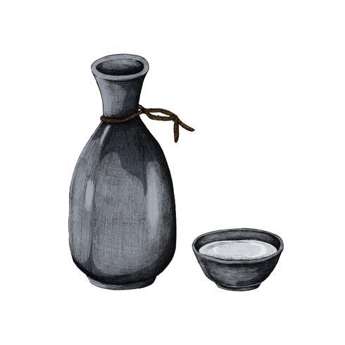 Ilustración de jarrón de bebida de alcohol japonés