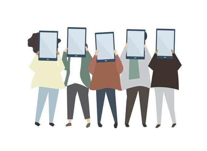 Grupo de amigos sosteniendo tabletas digitales ilustración