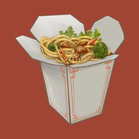 Chow mein na ilustração da caixa takeawy