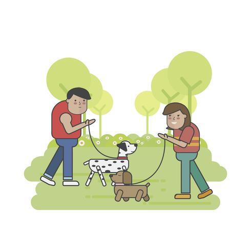 Hondleurders die in het park samenkomen