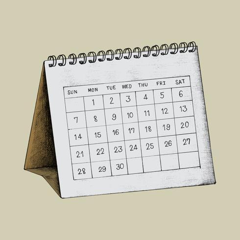 Dibujado a mano ilustración de calendario de escritorio