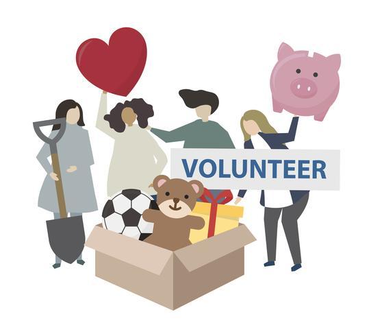 Donation och volontärarbete samhällstjänst illustration