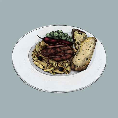 Illustratie van een diner van pennedeegwaren