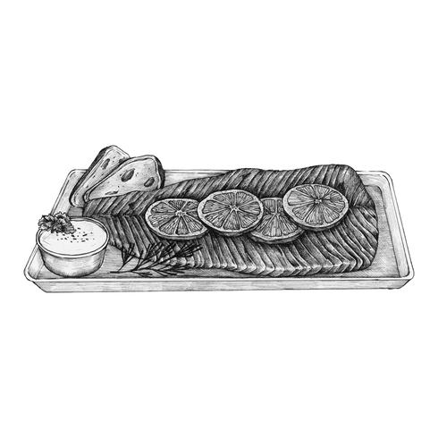 Handgezeichnetes Lachssteak
