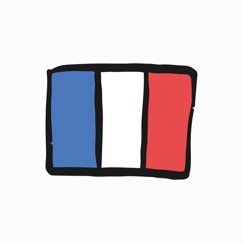 Bandiera dell'illustrazione di doodle della Repubblica francese