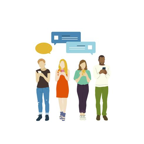 Personnes illustrées avec réseau social