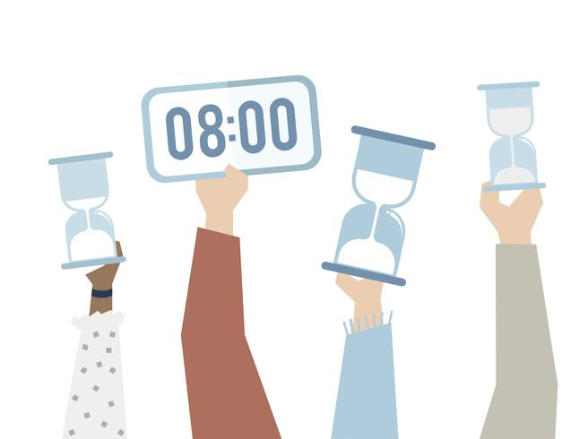 Illustration of hands with time management