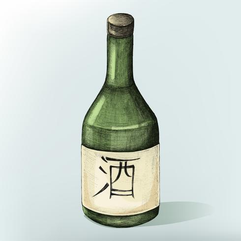 Ilustración de la botella de alcohol japonesa
