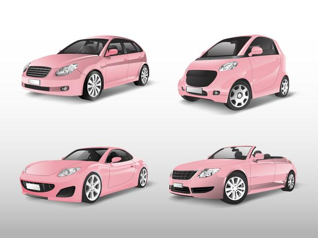 Conjunto de vectores de coche rosa