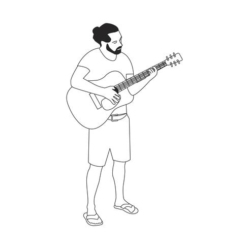 Homem barbudo Illutrated tocando guitarra