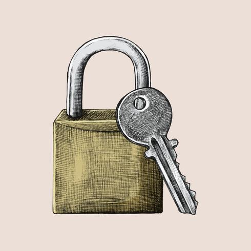 Handdragna lås och nyckel illustration