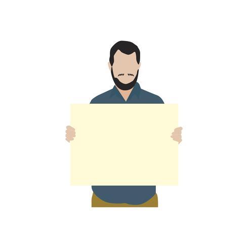 Homem barbudo ilustrado segurando papel em branco