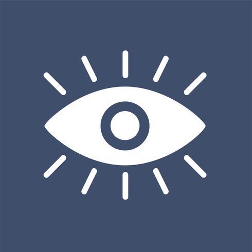 Een wit oog grafisch pictogram op blauwe achtergrond