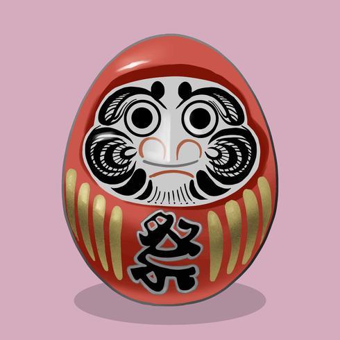Daruma, una tradicional muñeca japonesa de ilustración.