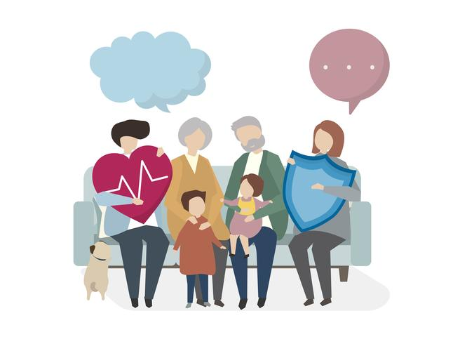 Illustration av familjeförsäkring