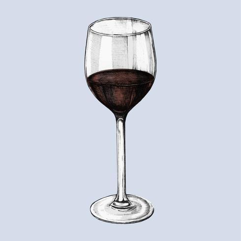 Ilustración de una copa de vino tinto
