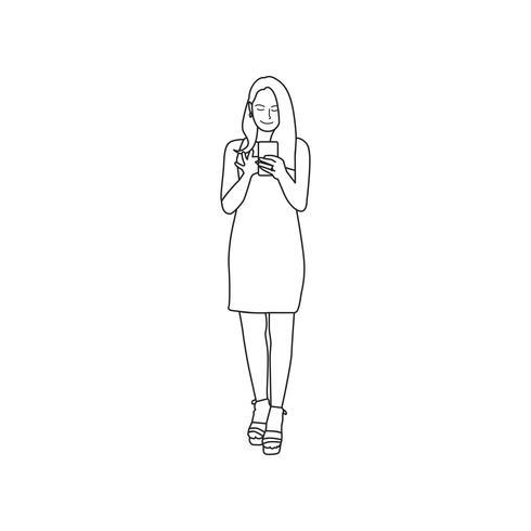 Mujer ilustrada que usa el teléfono móvil