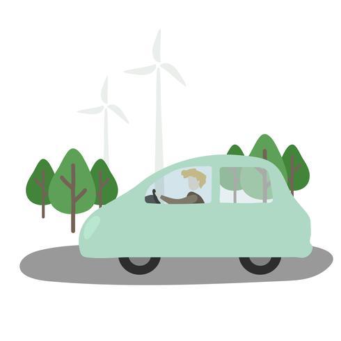 Ilustración del avatar humano con el medio ambiente.
