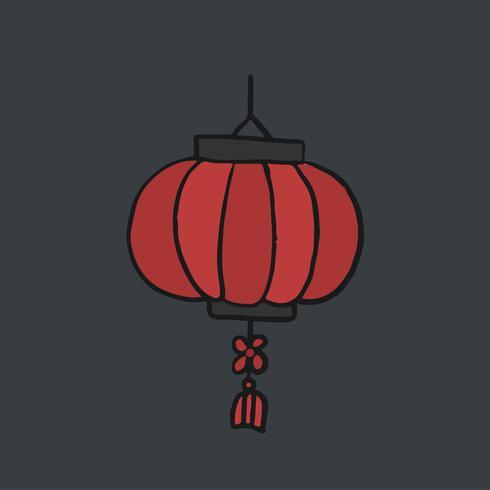 Ilustración de linterna de papel rojo chino