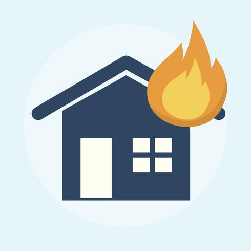 Illustration av ett brinnande hus