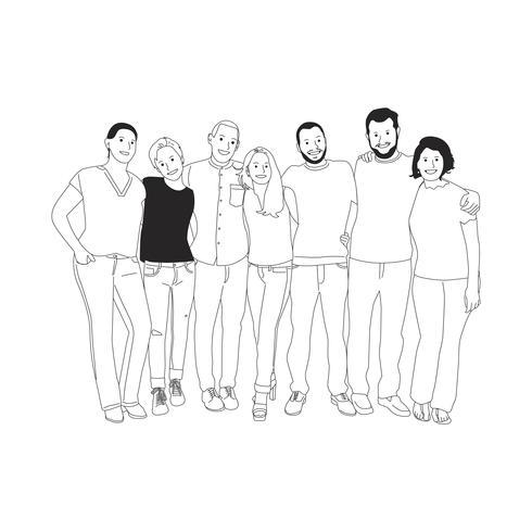 Illustration av olika människor armar runt varandra