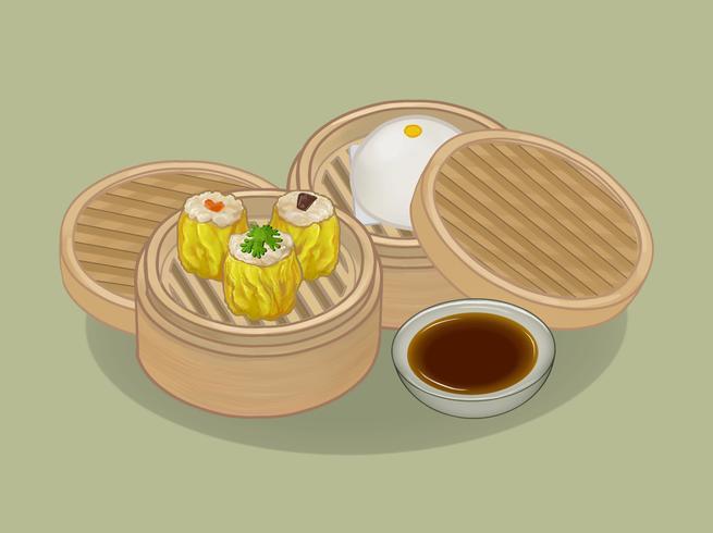 Chinese knoedels en broodjeillustratie
