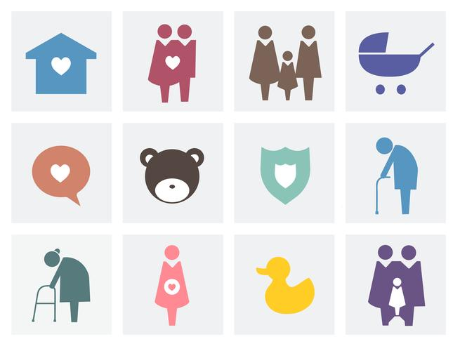 Collection of family icons pictogram illustration