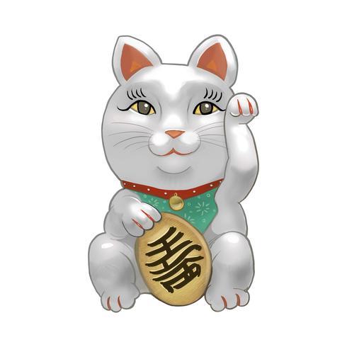 Japanse Maneki Neko beeldje illustratie