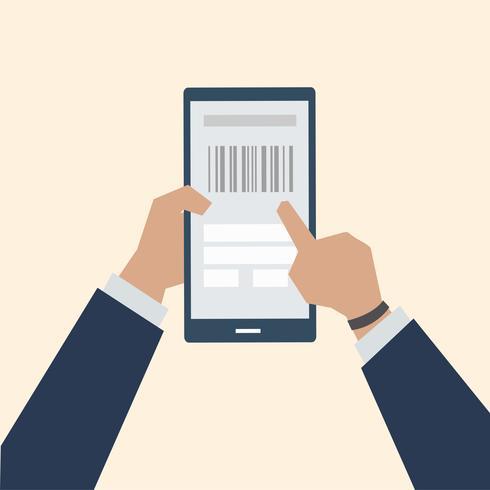 Illustrazione del pagamento online del codice a barre