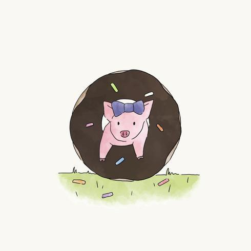 Piggy die door een doughnut springt