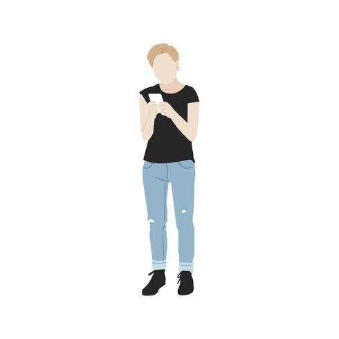 Donna illustrata che per mezzo del telefono cellulare