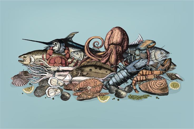Main dessinée du concept de fruits de mer