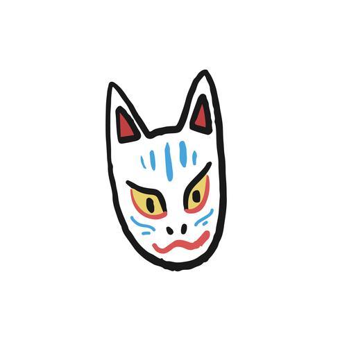 Illustration du renard Kitsune Noh Mask