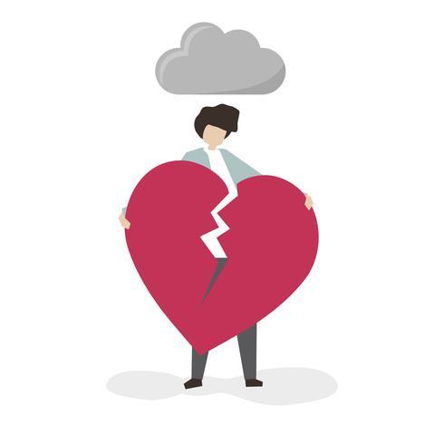 Man håller på ett brutet hjärta