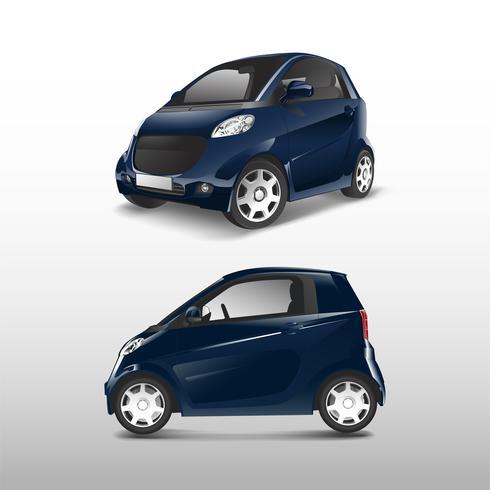 Vetor de carro híbrido compacto azul