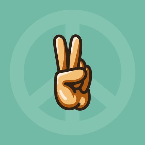 Hand die een illustratie van het vredesteken maakt