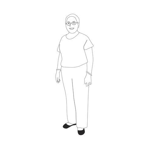 Geïllustreerde volwassen vrouw die alleen staat