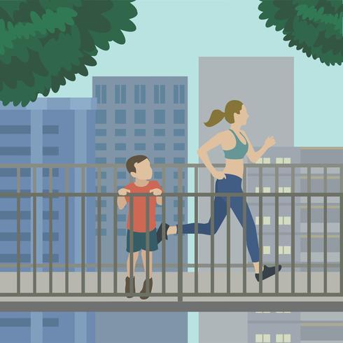 Vrouw die op een opgeheven illustratie van de spoorsleep loopt