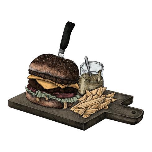 Ilustración de una gran hamburguesa con queso