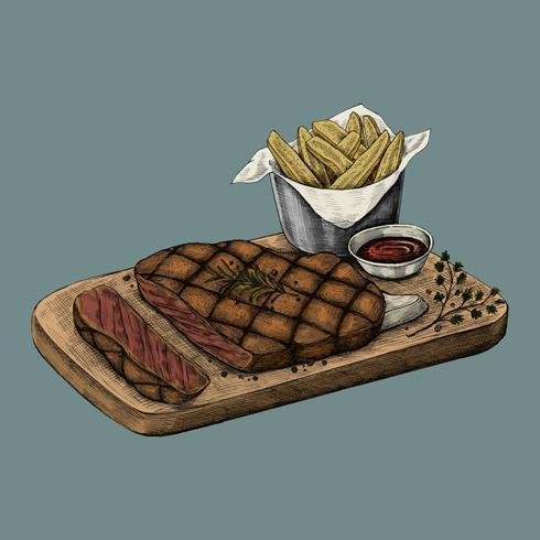 Ilustración de una cena de bistec